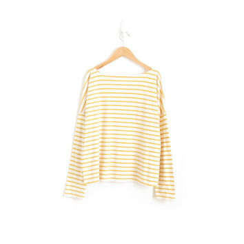 Mustard Yellow Striped Shirt Stripe Long Sleeve T Shirt Boat Neck Top Pastel Goth Kawaii French New Wave Nautical Art Hoe Womens Large XL