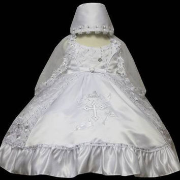 Baby Girl Toddler Christening Baptism Dress Gowns outfit set with bonnet /XS/S/M/L/XL/0-3M/3-6M/6-12M/12-18M/18-24M/XSMALL/SMALL/MEDIUM/LARGE/XL/2t/#5611