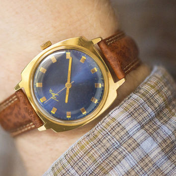 Mint condition men's wrist watch gold plated watch men mechanical watch navy face hand crafted exquisite leather strap