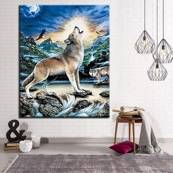 DIY Painting By Numbers Kits Coloring Lone Wolf Howling At The Moon Oil Pictures Wall Art Hand Paint Animal On Canvas Home Decor