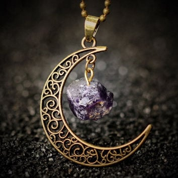 Galaxy moon crystal heart Amethyst Ancient bronze Natural stone necklace pendant