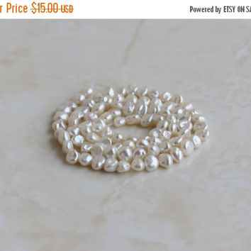 49% Off Sale Freshwater Pearl White Organic Baroque Nugget 5.5mm Full Strand 85 beads
