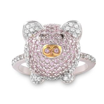 Sterling Silver Pink CZ Pig Ring