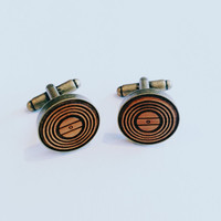 Wood record cufflinks, vinyl record cufflinks, antique bronze, father's day gift, gifts for him, groomsmen gifts, unique cufflinks