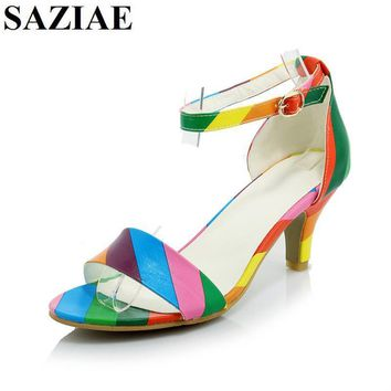 [SAZIAE] New Fashion Women Shoes Buckle Sandals Thin Heels Mixed Color Sexy Sandals Su
