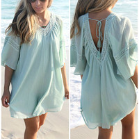 Anna Maria Island Bell Sleeve Mint Peasant Dress