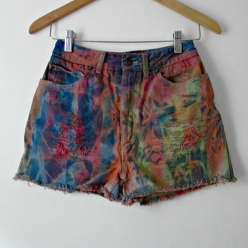 SALE Vintage High Waist Tie Dye Cut Off Shorts Sasson Jeans Size Small One of a Kind Psychedelic Bohemian Summer Festival