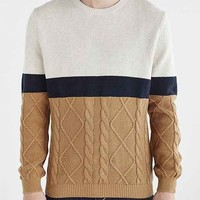 Vanishing Elephant Mixed Stitch Colorblocked Sweater- Cream