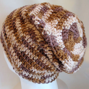 Crochet Slouchy Hat - Beanie Hat - Brown Tweed - Stripe - Unisex - Men - Teen - Gift - Boyfriend - Girlfriend - Girl Spring Fashion