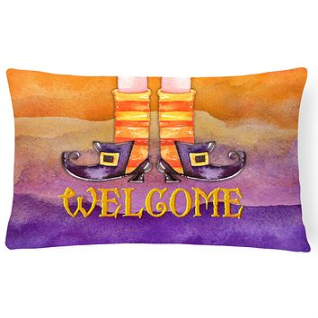 Halloween Welcome Witches Feet Canvas Fabric Decorative Pillow BB7459PW1216