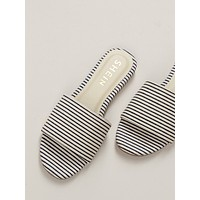 Striped Wide Band Slide Sandals