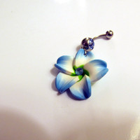 Belly Ring, Exotic Aqua Blue Hawaiian Plumeria Flower, With Blue Crystal Belly button Navel Ring, Belly Button Jewelry For Women and Teens