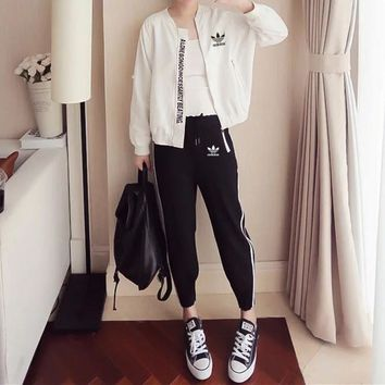 """Adidas"" Women Casual Stripe Letter Print Trousers Long Sleeve Cardigan Baseball Clothes Set Two-Piece Sportswear"