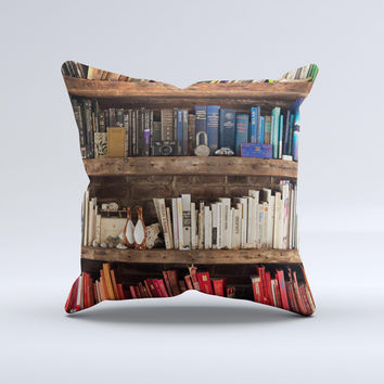 Vintage Bookcase V1  Ink-Fuzed Decorative Throw Pillow
