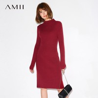 Minimalist Casual Women Winter Dress Solid Mid-Calf Turtleneck Wide-waist Knit Warm Female Dresses