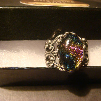 Antique Silver Ox Dichroic Glass Galaxy Ring  - Adjustable (1006)