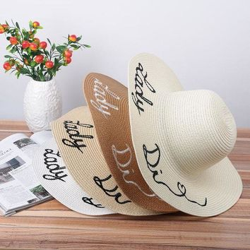 ESB1ON Fashion Protable Women Sun Hat Letter Embroidery Straw Plaited Hats Summer Beach Sunscreen Foldable Wide Large Brim Hat