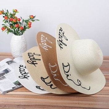 PEAP78W Fashion Protable Women Sun Hat Letter Embroidery Straw Plaited Hats Summer Beach Sunscreen Foldable Wide Large Brim Hat