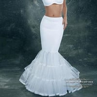 2014 in stock 2 hoops mermaid petticoat crinoline for mermaid wedding dress slip good quality and Cheap = 1933114372
