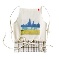 Air Brushed Chicago Skyscrapers Zazzle HEART Apron