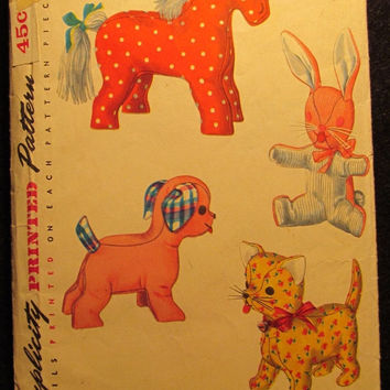 Sale 1950's Simplicity Sewing Pattern, 4915! Stuffed Toys/Cats/Horses/Dogs/Rabbits/Bunny/Puppy/Pony/Kitten/Kids Toys/Home Decor/Arts & Craft