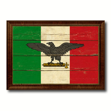 Italy War Eagle Italian Military Military Flag Vintage Canvas Print with Brown Picture Frame Gifts Ideas Home Decor Wall Art Decoration