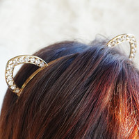 Crystal Cat Ears, Jewel Cat Ears, Gold Cat Ears, Cat Ears Headband, New Year's Eve Cat Ears Headband