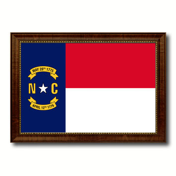 North Carolina State Flag Canvas Print with Custom Brown Picture Frame Home Decor Wall Art Decoration Gifts