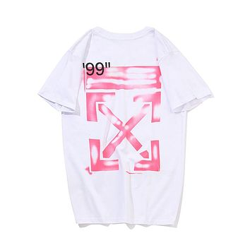 Off White Summer Fashion New Letter Cross Arrow Print Leisure Couple Top T-Shirt White