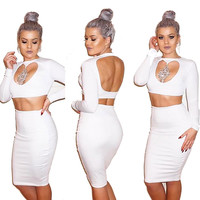 White Cut-Out Rhinestone Detail Midi Pencil Skirt Set