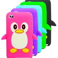 The Friendly Swede 5 x Penguin Silicone Cases Skins Covers - Hot Pink Purple Green Black Blue - Microfiber Cloth and Retail Packaging