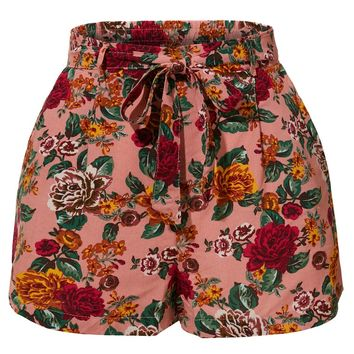 Stretchy Floral Print High Waisted Shorts with Belt