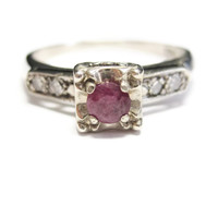 14K White Gold .32 Carat Ruby and Diamond Engagement Ring Size 6