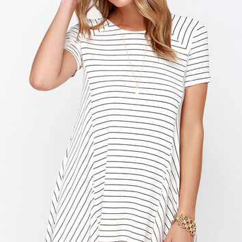 Ferry Ride Ivory Striped Swing Dress
