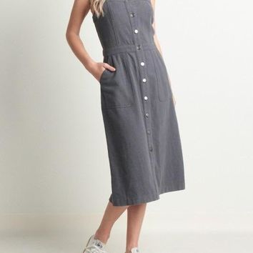 CAROL CHARCOAL OVERALL SNAP UP DRESS