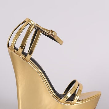 Liliana Mirror Metallic Caged Ankle Strap Platform Wedge