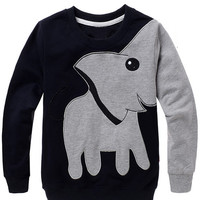 Women's Cute Elephant Pattern Crew Neck Pullover Sweatshirt Jumper