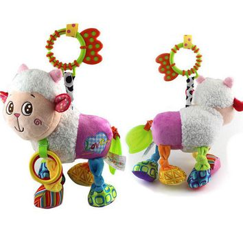 Kawaii Animals Baby Infant Plush Dolls Toys Bed & Stroller Hanging Bell Crib Rattle Toys With Gutta-Percha Stretch Kids Toy