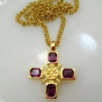 Jeweled Cross Pendant Necklace Two Sided Design Gold Tone Vintage Gift Collectible Item 2405
