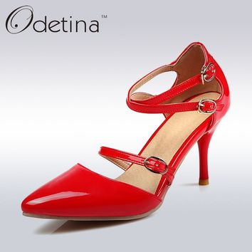 Odetina 2017 Fashion Cross Strap High Heels Buckle Ankle Closed Toe Ankle Strap Pumps Sexy Party Shoes Thin Heels Big Size 32-48