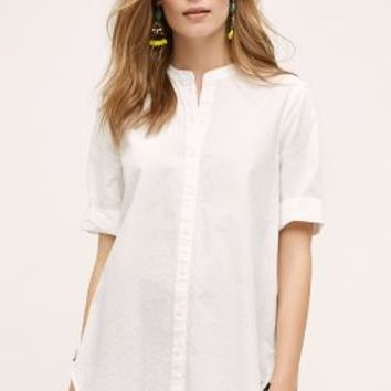 HD in Paris Poplin Buttondown Tunic in White Size: