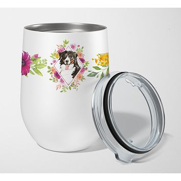 Bernese Mountain Dog Pink Flowers Stainless Steel 12 oz Stemless Wine Glass CK4264TBL12