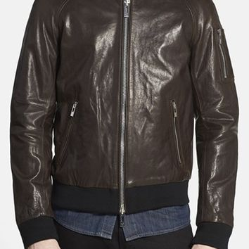 Men's Rogue Washed Black Leather Baseball Jacket,