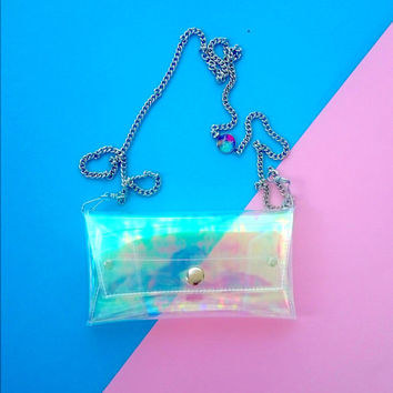 Holographic phone chain case for iPhone, HTC, Samsung Galaxy, Sony Xperia, Phone Cases, Cellphone Bag, Small Purse,cross body bag, opal bag