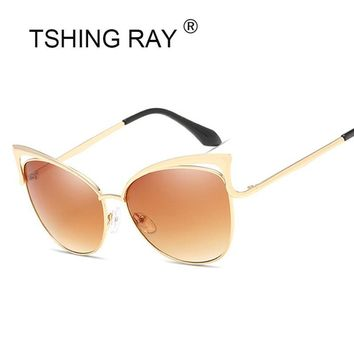 Vintage Women Cat Eye Sunglasses Fashion Sexy Celebrity Female Shades Retro Cateye Big Hollow Metal Mirror Sun Glasses UV400