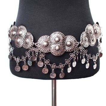 Women Belt Bohemia Gypsy vintage Plated Metal Wide