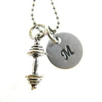 Barbell Necklace - Weight Lifting - Weight Loss Motivation - Personalized Initial Jewelry - Hand Stamped Charm Necklace