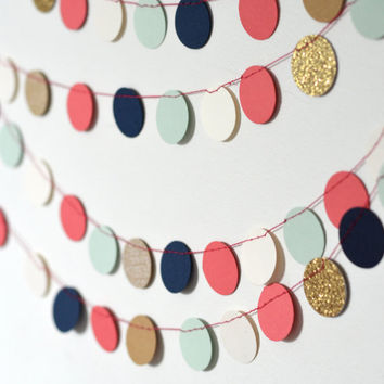 Navy, Mint, Gold, Coral and Cream Confetti Circles Garland