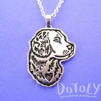 Golden Retriever Dog Portrait Pendant Necklace in Silver | Animal Jewelry
