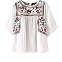 SheIn Ladies White Embroidery Vintage Tops and Blouses Womens Summer Elbow Half Sleeve Round Neck Keyhole Blouse